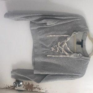 gray velvet lace up crop top